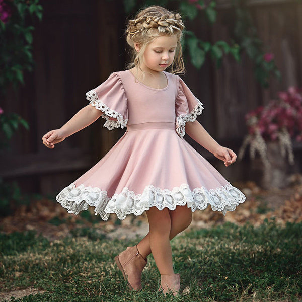 Kids Baby Girls Dress Lace Floral Party Dress Short Sleeve Solid Dress Clothes