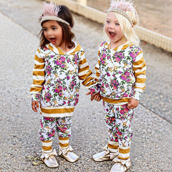 US Toddler Kids Baby Girls Clothes Striped Hooded Tops Floral Pants Outfits Set