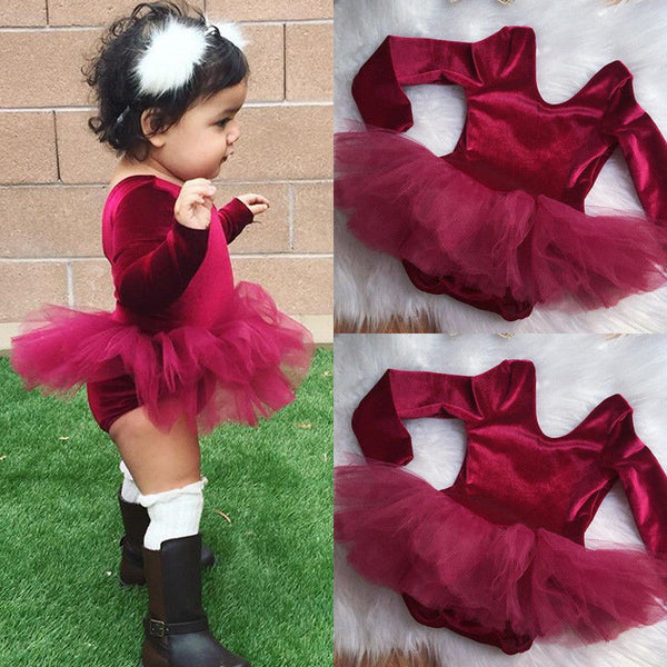 Newborn Infant Baby Girls Romper Tulle Dress Bodysuit Jumpsuit Outfits Clothes