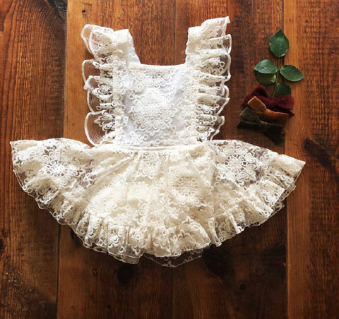 USA Cute Newborn Baby Girls Strap Floral Lace Romper Dress Sundress Clothes