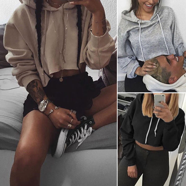 Womens Hooded Short Sweatshirt Plain Cropped Tops Pullover Jumper Top Shirts US