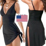 Womens Push-up One-piece Swim Dress Swimsuit Bikini Swimwear Plus Size Tankini