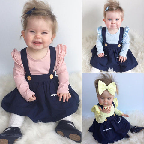 Newborn Toddler Baby Girl Brace Dress Overalls Princess Party Autumn Clothes