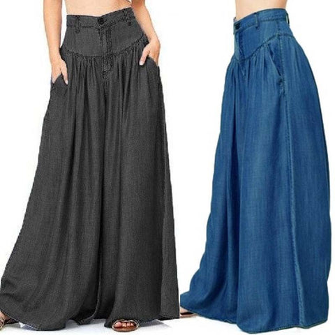 ZANZEA Women Pantalon Wide Legs Long Pants Casual High Waist Trousers Plus Size