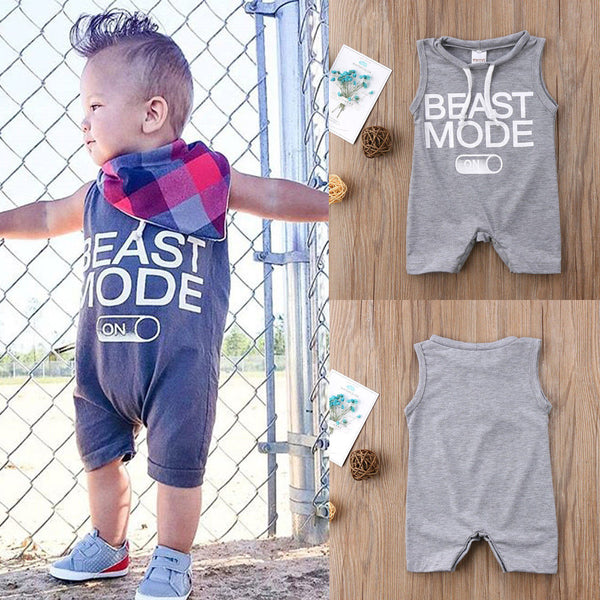 Newborn Baby Boy Gray BEAST MODE ON Printed Romper Short Loose Jumpsuit Outfits