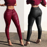 Women High Waist Skinny Pants PU Leather Leggings Joggings Trousers Clubwear