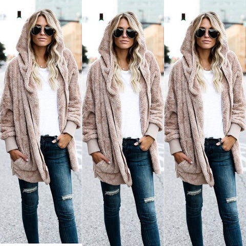 Winter Womens Long Sleeve Oversized Loose Sweater Cardigan Outwear Hoodie Coat