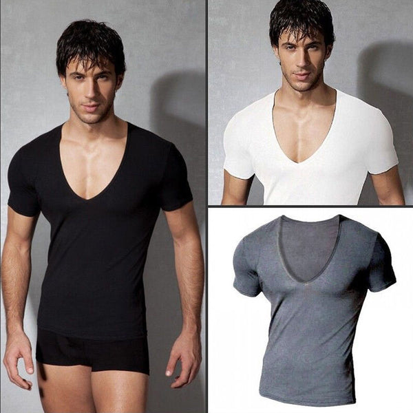 USA Men's T-Shirt Slim Fit Plain V-Neck Muscle Fashion Casual Tee Short Sleeve