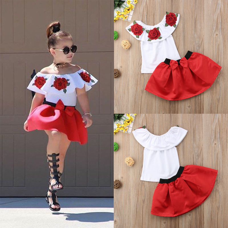62ddfc96f40f US STOCK Summer Off Shoulder Tops Baby Kid Girls Party Dress Mini Skirts  Outfits