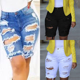 Women Ladies Casual Denim Destroyed Shorts Ripped Skinny Jeans Knee Length Pants