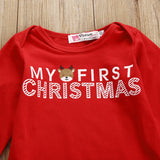 2017 First Christmas Newborn Baby Boy Girls Romper +Pants Bodysuit Outfits Xmas