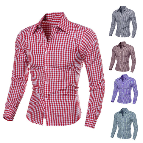 Luxury Stylish Men's Slim Fit Casual Shirts Long Sleeve Check Dress Shirts Tops