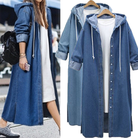 Womens Hooded Denim Jeans Buttons Down Long Sleeve Coat Jacket Cardigan Kaftan