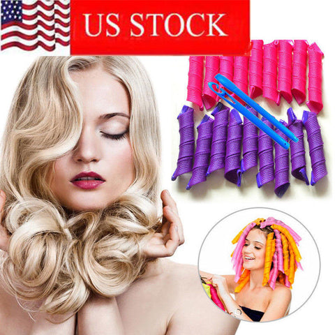 40PCS Magic Long Hair Curlers Curl Formers Spiral Ringlets Leverage Rollers Tool