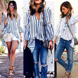 Women's Lady Loose Long Sleeve BOHO Casual Blouse Shirt Tops Fashion Blouse