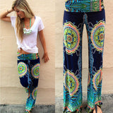 Womens Floral Boho Wide Leg Pants Casual High Waist Palazzo Loose Flare Trousers