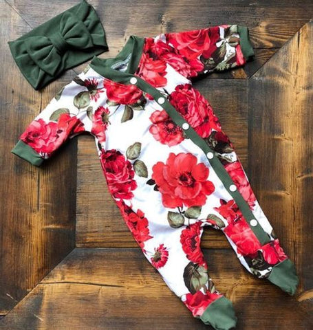 ea7ad935a Newborn Baby Girls Romper Jumpsuit Bodysuit Infant Headband Clothes Outfits  Set