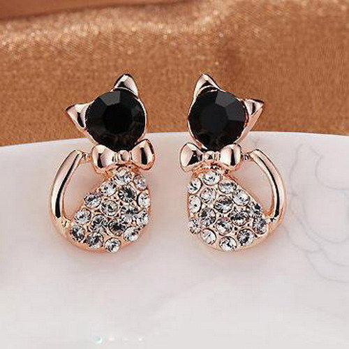 Elegant Women Lady Gold Plated Cat Crystal Rhinestone Ear Stud Earrings Jewelry