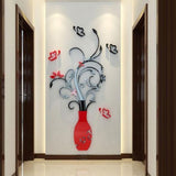 2 Pattern 3D Flower Vase Tree Crystal Arcylic Wall Stickers Decal DIY Home Decor