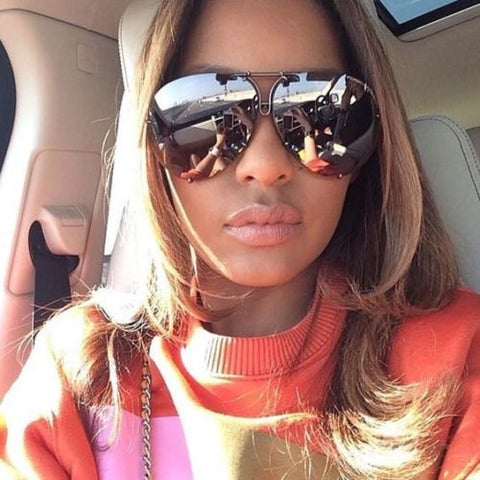 "MIRROR ""Posche"" OVERSIZED Women Sunglasses Aviator Flat Top Square Shadz"