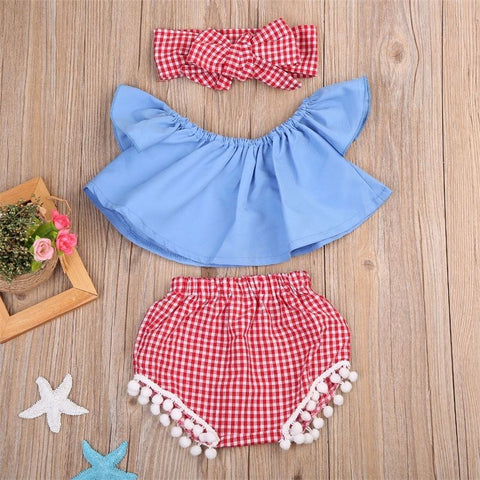 3PCS Kids Baby Girl Clothes Summer Off Shoulder Crop Top Tank+Short Pants Outfit