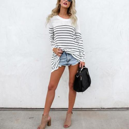 Women Casual Stripe Shirt Loose O-Neck Long Sleeve Sweatshirt Cotton Tops Blouse