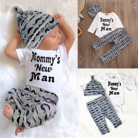 Cute Baby Boys Moustache Tops Romper Jumpsuit+Pants Hat Outfits Clothes 0-18M