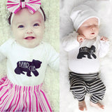 Newborn Baby Boys Girl Rompers Tops Pants Hat 3PCS Outfits Set Christmas Clothes