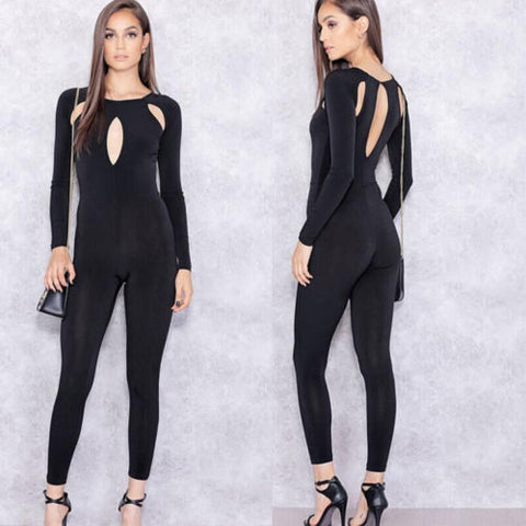 Sexy Women Long sleeve Backless Bodycon Jumpsuit Romper Clubwear Long Trousers