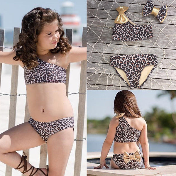 3pcs Summer Kids Baby Girl Leopard Bow Bikini Set Swimwear Swimsuit Bathing Suit