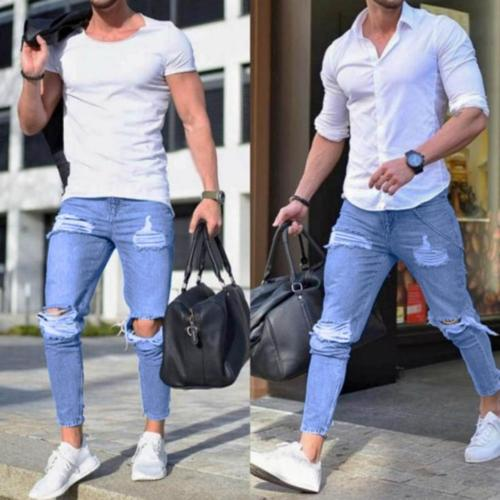NEW Men Stretchy Ripped Skinny Biker Jeans Destroyed Taped Slim Fit Denim Pants