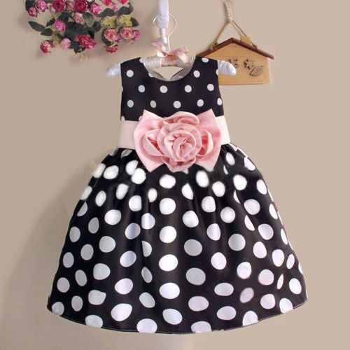2017 Princess Baby Kids Girls Dress Party Polka Dot Flower Gown Fancy Dress 2-7Y