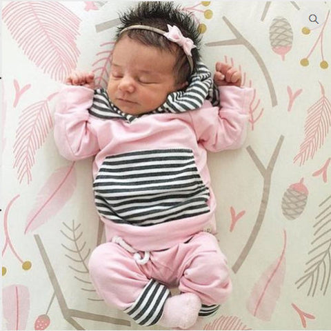 USA STOCK Newborn Baby Girls Clothes Pink Tops+Pants Leggings 2pcs Outfits Set y