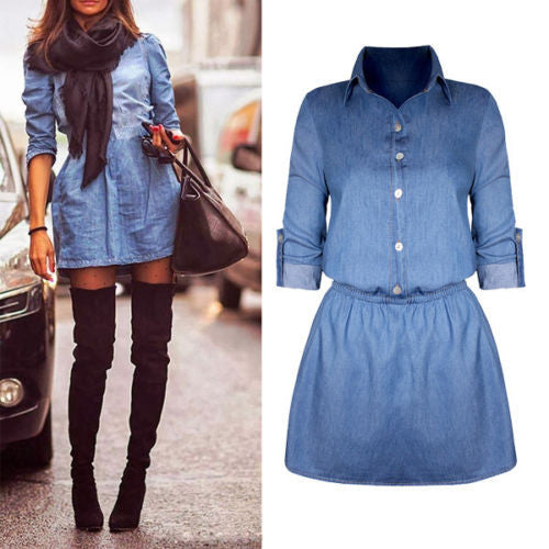 Fashion Women Casual Party Long Sleeve Denim Jean Waist Shirt Short Mini D