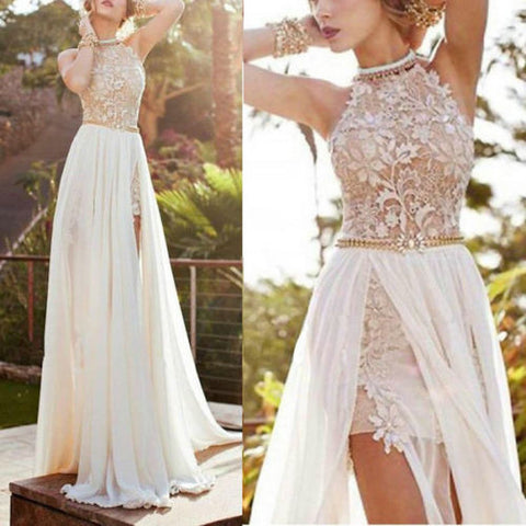 US Summer Women Lace Long Chiffon Dress Bridesmaid Wedding Party Cocktail Dress