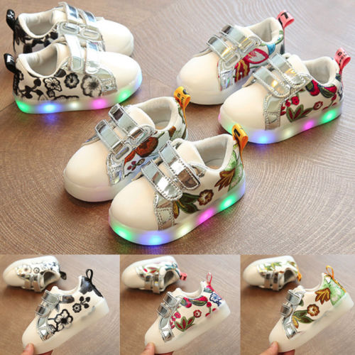 Kids Toddler Baby Girl Floral LED Luminous Crib Shoes Leather Sneakers Trainers