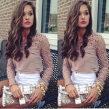 Fashion Women Long Sleeve Shirt Casual Lace Blouse Loose Cotton Tops T Shirt USA