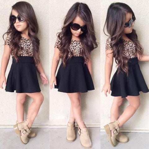 Kids Baby Dress Girls Leopard Printing Dresses Short Sleeveless Dresses Clothes
