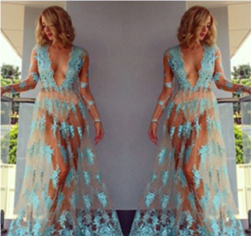 USA Summer Women Lace Dress Evening Party Beach Bikini Cover Up Long Maxi Dress