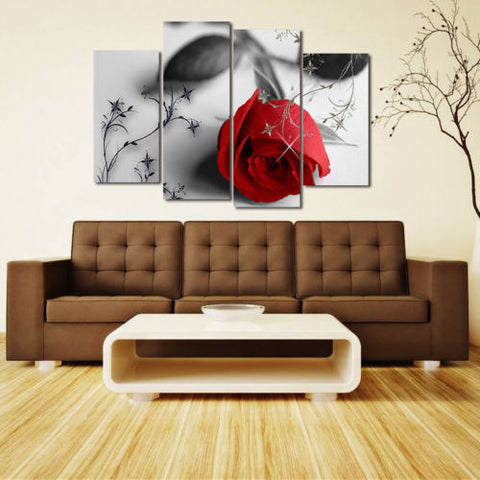 Living Room Red Rose Flower Oil Painting Print Canvas Picture Wall Art Decor Hot