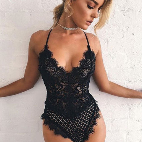 Women's Lace Lingerie Babydoll Bodycon Nightwear Sleepwear Underwear Bodysuit US