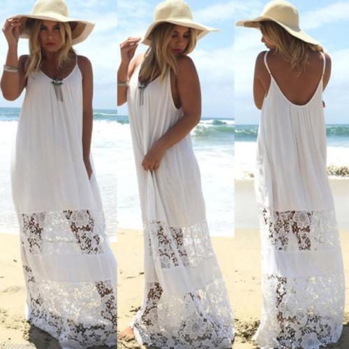 Fashion Women Summer Maxi Beach Dress Sleeveless Lace Evening Party Long Dress