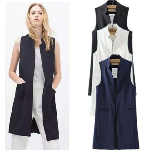 Outerwear Coat Women Sleeveless Long Waist coat Vest Jacket Ladies Summer