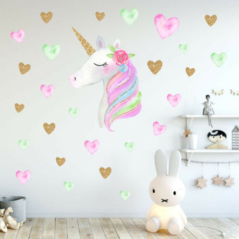 US Rainbow Unicorn Wall Sticker Girls Bedroom Wall Decal Art Nursery Home Decor