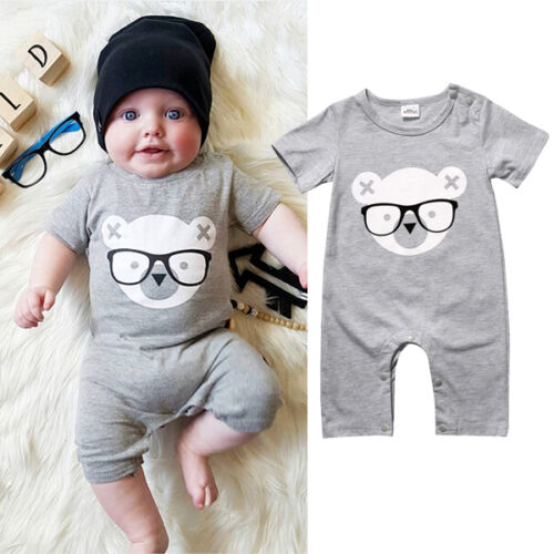 Newborn Baby Boy Girls Short Sleeve Romper Bodysuit Jumpsuit Outfits Clothes New