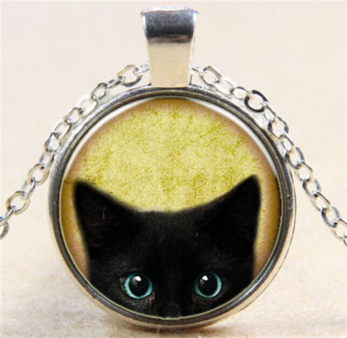 Silver Glass Vintage CUTE LUCKY Black Cat Cabochon Chain Pendant Necklace