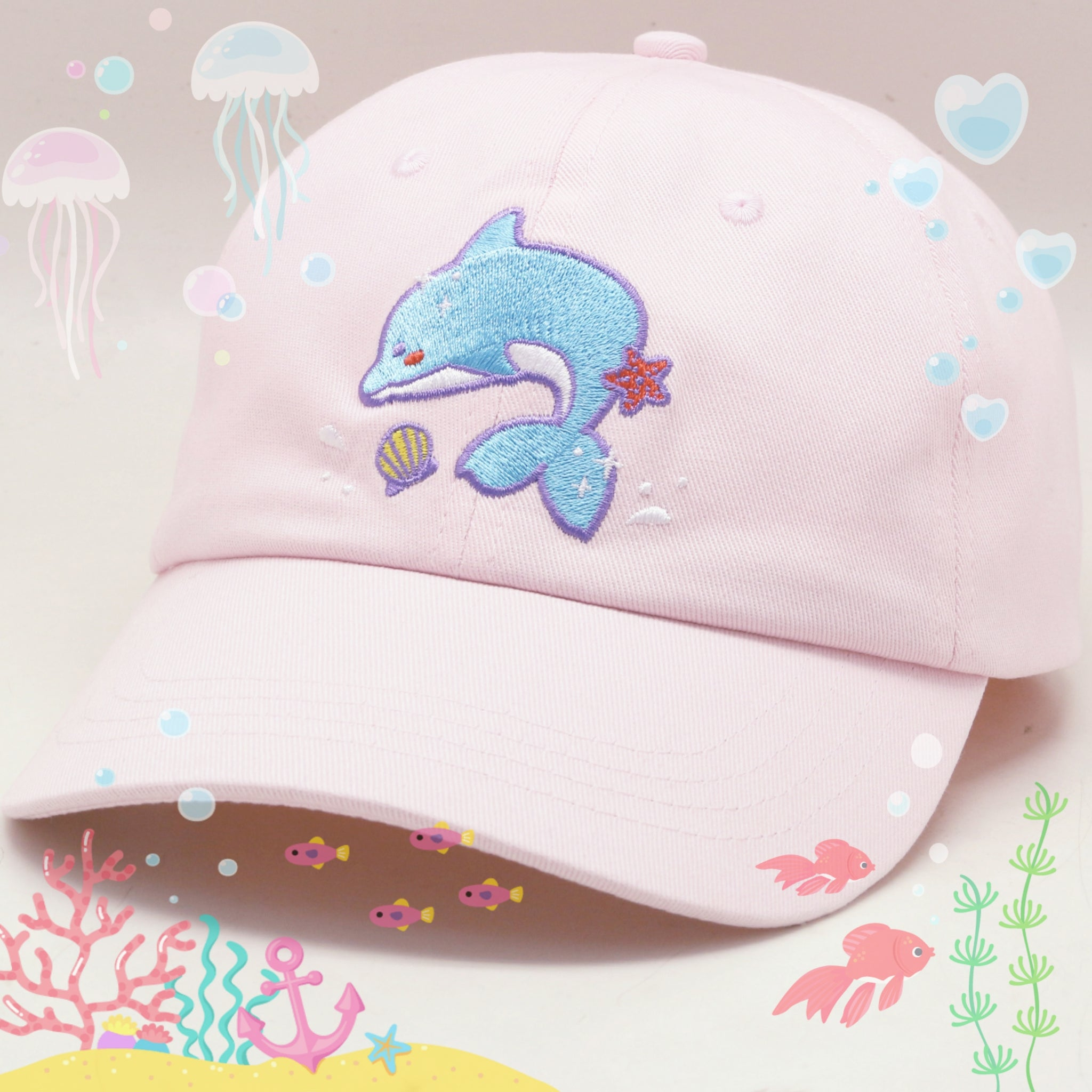 Kawaii Dolphin Pink Strap-Back Hat