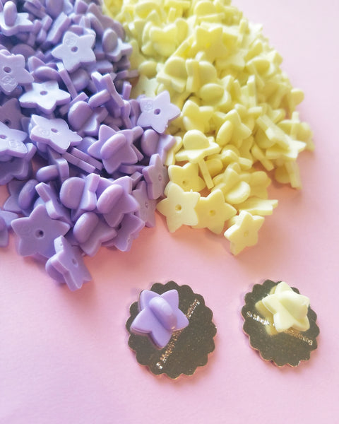 Puffy Star Shaped Pin Backs - Yellow Lavender Mint Clear Glitter