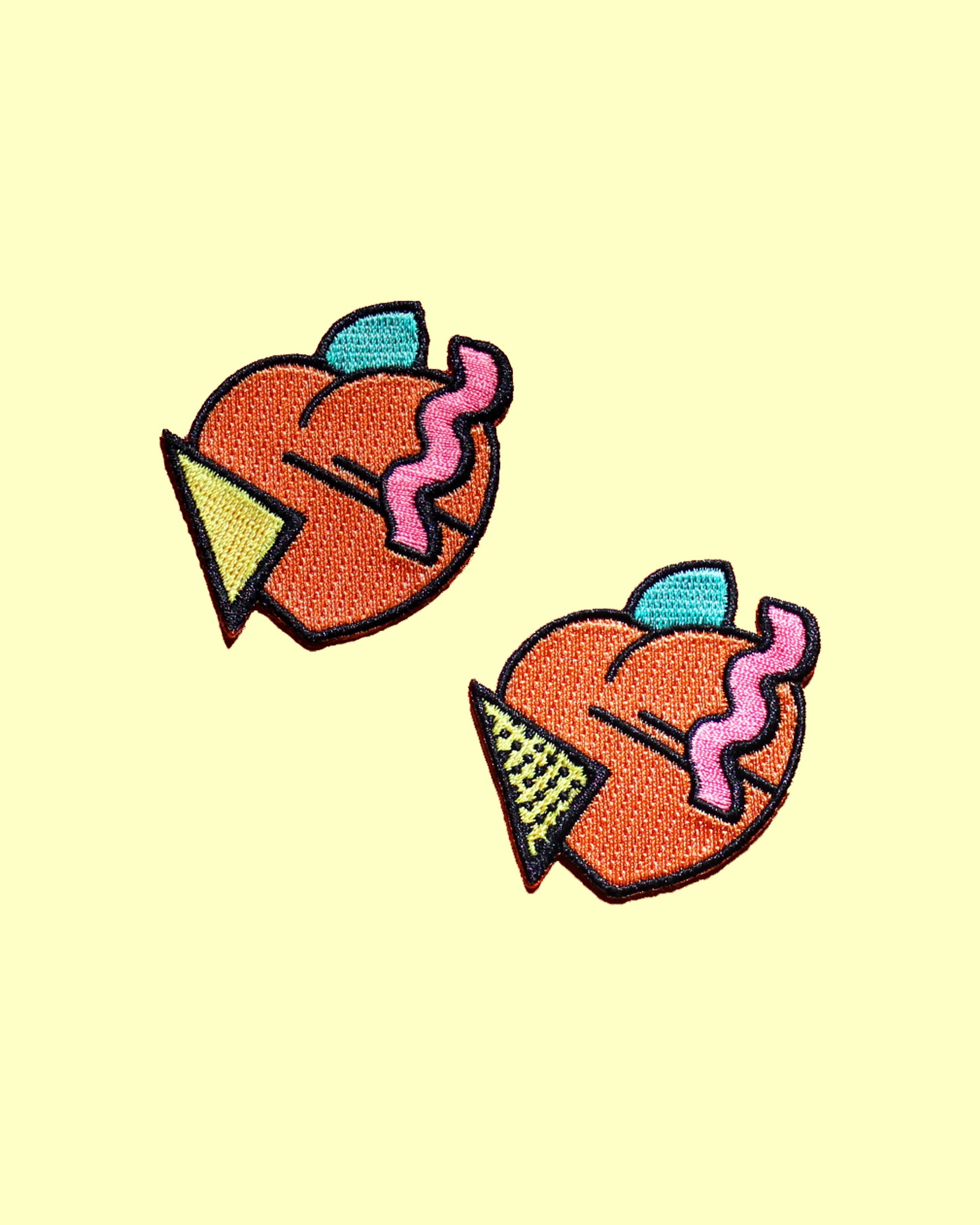80s Memphis Peach Iron On Patch - 2 Styles