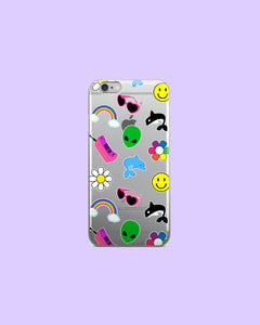 90s Sticker Stuff Orca Dolphin Alien Daisy Happy Face Rainbow - Clear Plastic Phone Case for iPhones